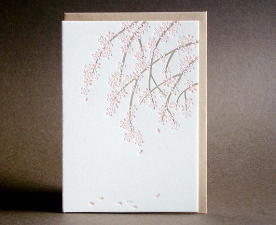 Benjamin Paul Cherry Blossom Card 550x448 Seasonal Stationery: Cherry Blossoms
