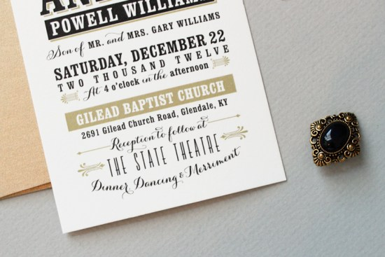 Black and Gold Typographic Wedding Invitations Megan Wright Design Co3 550x367 Jessica + Andrews Vintage Inspired Typography Wedding Invitations