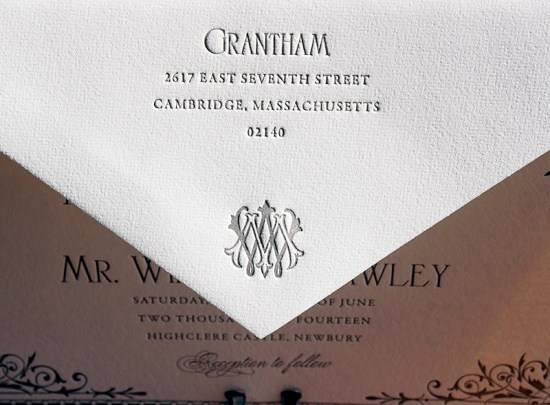 Downton Abbey Inspired Wedding Invitation Lucky Luxe Couture Correspondence7 550x405 Downton Abbey Inspired Wedding Invitations