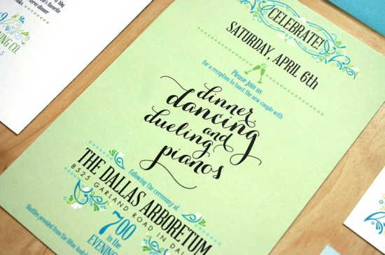 Green Turquoise Garden Party Wedding Invitations Mountain Paper12 550x365 Sarah + Chases Texas Garden Party Wedding Invitations