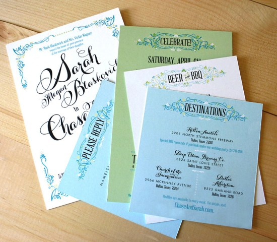 Green Turquoise Garden Party Wedding Invitations Mountain Paper14 550x480 Sarah + Chases Texas Garden Party Wedding Invitations