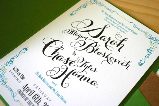 Green Turquoise Garden Party Wedding Invitations Mountain Paper2 550x365 Sarah + Chases Texas Garden Party Wedding Invitations