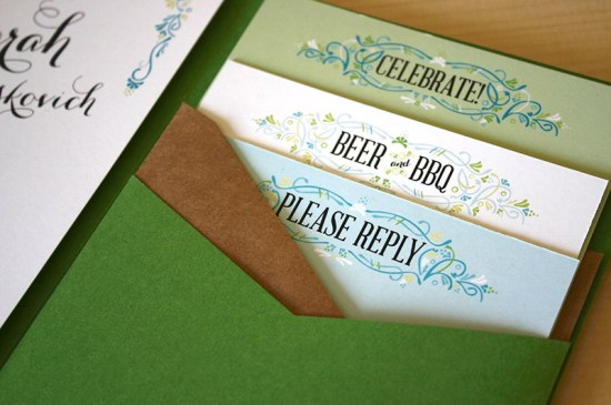 Green Turquoise Garden Party Wedding Invitations Mountain Paper3 550x365 Sarah + Chases Texas Garden Party Wedding Invitations