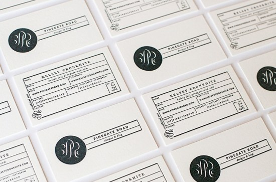 Modern Black and White Business Cards Kelsey Cronkhite3a 550x363 Kelseys Modern Hand Lettered Black + White Business Collateral