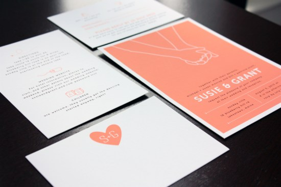 Modern Hand Hold Wedding invitations Up Up Creative 550x366 Susie + Grants Modern Hand Hold Wedding Invitations
