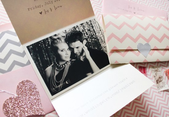 Pink Gray Chevron Stripe Save the Dates Ginger P Design 550x381 Jes + Ivans Pink and Gray Chevron Stripe Save the Dates