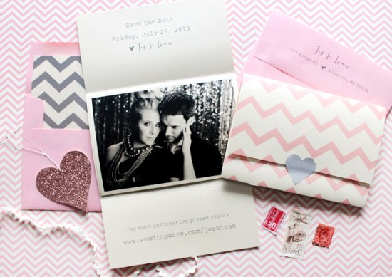 Pink Gray Chevron Stripe Save the Dates Ginger P Design2 550x389 Jes + Ivans Pink and Gray Chevron Stripe Save the Dates