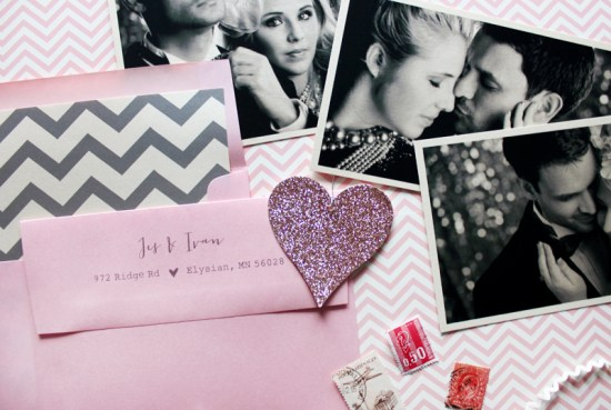 Pink Gray Chevron Stripe Save the Dates Ginger P Design4 550x369 Jes + Ivans Pink and Gray Chevron Stripe Save the Dates