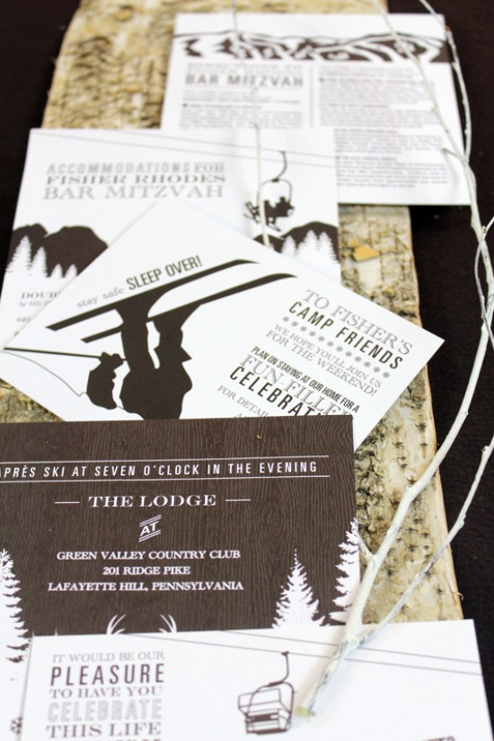 Ski Themed Bar Mitzvah Invitation Le Petite Fleur2 Fishers Mountain Ski Theme Bar Mitzvah Invitations