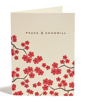 Snow and Graham Cherry Blossom Card Seasonal Stationery: Cherry Blossoms