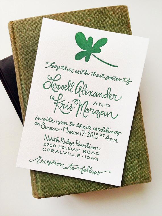 Kris + Lowell\u0027s St Patrick\u0027s Day Wedding Invitations