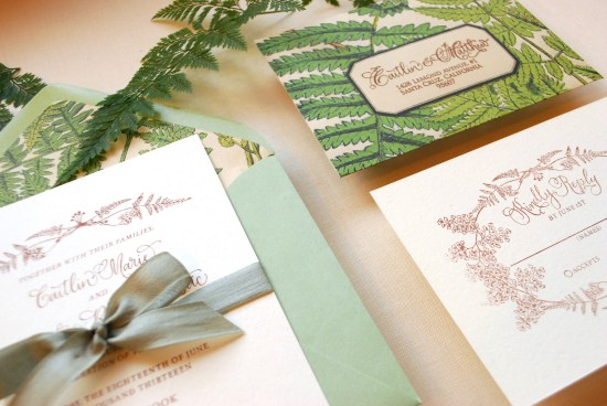 fern final3 550x368 DIY Tutorial: Vintage Fern Wedding Invitations