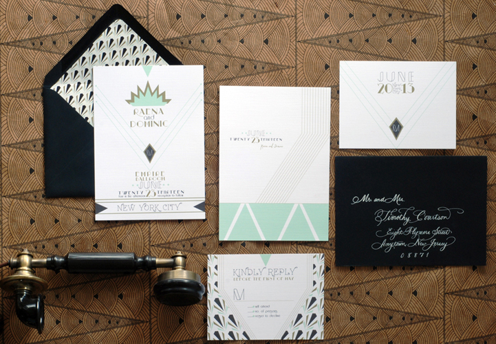 Raena + Dominic\u0027s Art Deco Wedding Invitations