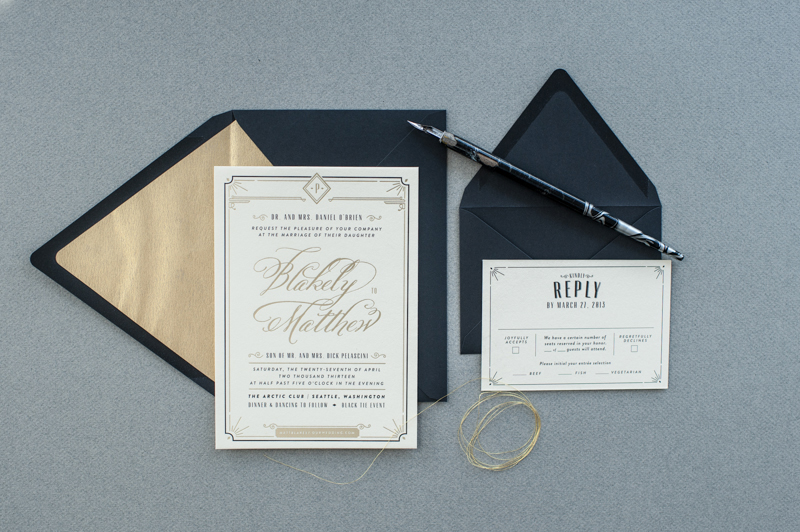 Blakely + Matthewu0027s Glamorous Art Deco Wedding Invitations - Formal Invitation