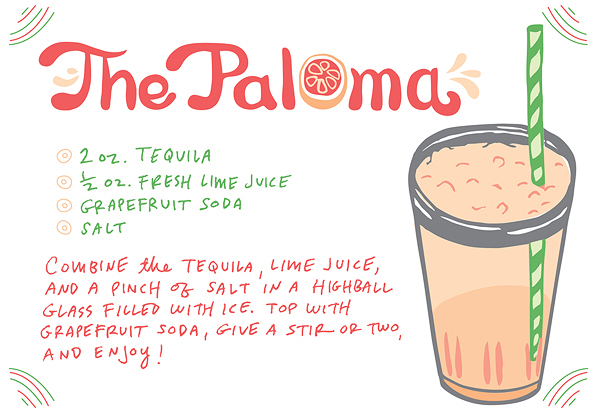 Cocktail Recipe Card The Paloma Caitlin Keegan Illustration Friday Happy Hour: The Paloma