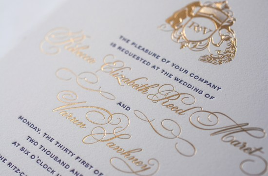 Lasercut Gold Foil Letterpress Wedding Invitations Atelier Isabey5 550x363 Rebecca + Varuns Lasercut and Gold Foil Wedding Invitations