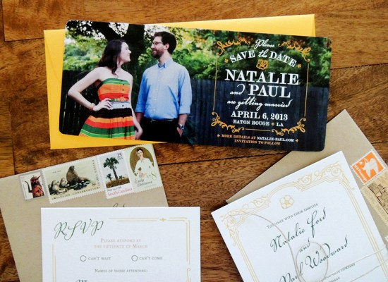 Magnolia Wedding Invitation Suite Harken Press12 550x400 Natalie + Pauls Southern Magnolia Wedding Invitations