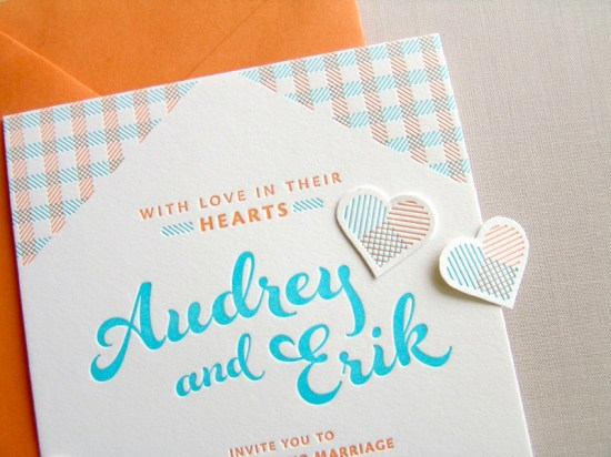 Orange Blue Letterpress Overprint Wedding Invitations Studio SloMo4 550x412 Audrey + Eriks Gingham Letterpress Overprint Wedding Invitations