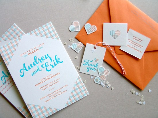 Orange Blue Letterpress Overprint Wedding Invitations Studio SloMo5 550x412 Audrey + Eriks Gingham Letterpress Overprint Wedding Invitations