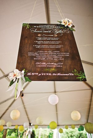 Wooden Menu Sign Chocolate Butterbean Nancy Ray 300x443 Wedding Stationery Inspiration: Menu Signs