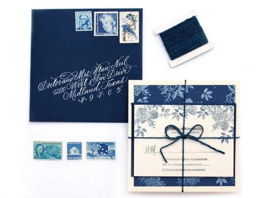 indigo final1 550x405 DIY Tutorial: Indigo Floral Print Wedding Invitations