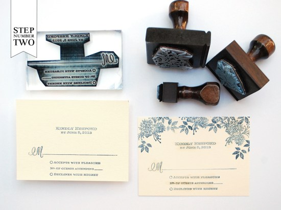 step2 550x411 DIY Tutorial: Indigo Floral Print Wedding Invitations