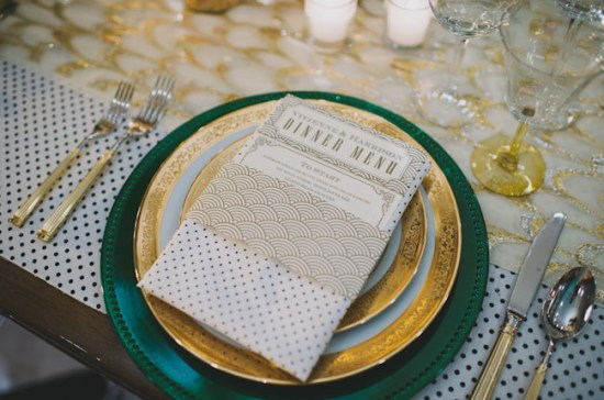 Art Deco Wedding Menu Simply Letterpressed Heidi Ryder Photography 550x364 Wedding Stationery Inspiration: Art Deco