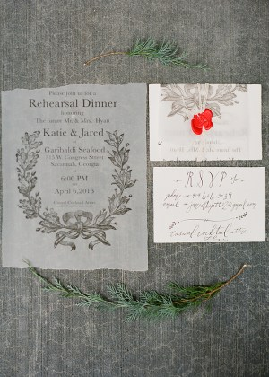 Calligraphy Rehearsal Dinner Invitations Laura Catherine4 300x420 Katies Rustic Italian Inspired Calligraphy Wedding Stationery