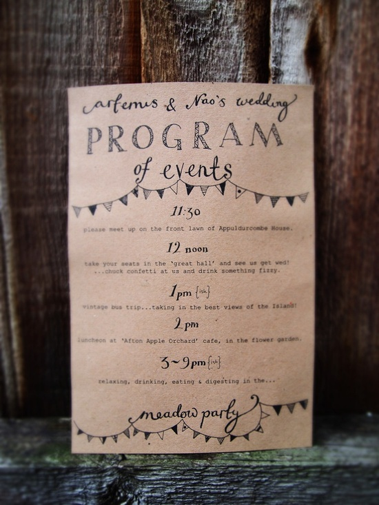 wedding program schedule