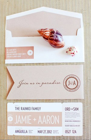 Modern Romantic Destination Wedding Invitations Made by Kara4 300x460 Jamie + Aarons Modern Romantic Destination Wedding Invitations