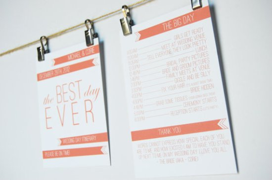 Wedding Day Itinerary Simple Simon Design 550x365 Wedding Stationery Inspiration: Day of Itineraries