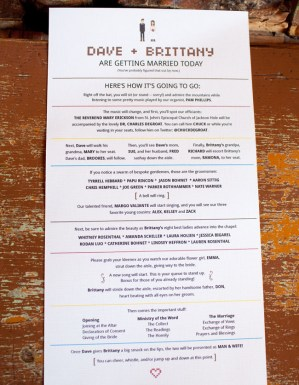 Wedding Itinerary sthblue david stubbs 300x387 Wedding Stationery Inspiration: Day of Itineraries
