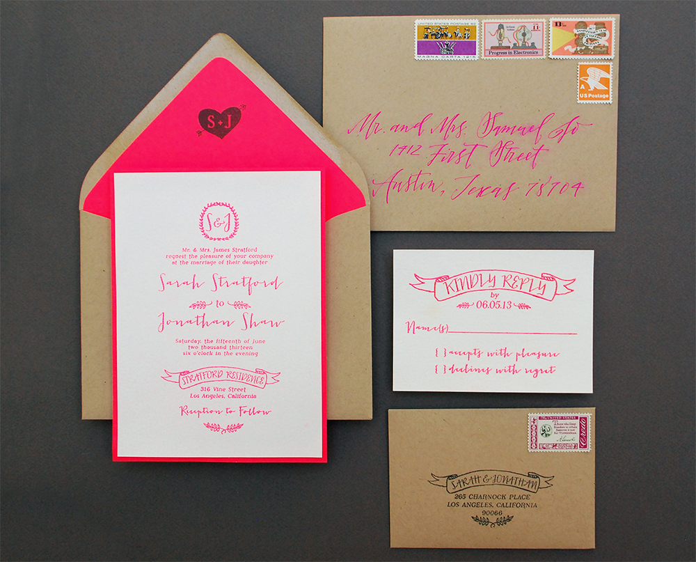 Diy Wedding Invitations With Photo Diy Tutorial Neon Kraft Paper Wedding Invitations