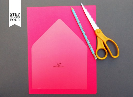 step4 550x403 DIY Tutorial: Neon + Kraft Paper Wedding Invitations