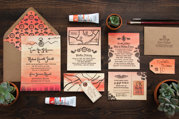 Arizona Desert Sunset Wedding Invitations Lovely Paper Things Trisha + Richards Arizona Sunset Wedding Invitations