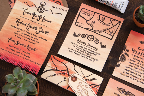 Arizona Desert Sunset Wedding Invitations Lovely Paper Things2 Trisha + Richards Arizona Sunset Wedding Invitations