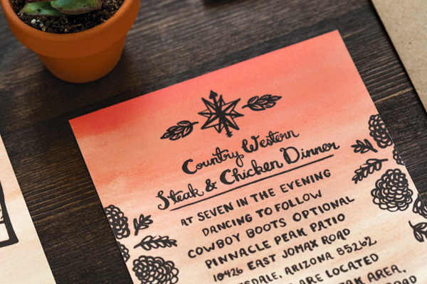 Arizona Desert Sunset Wedding Invitations Lovely Paper Things5 Trisha + Richards Arizona Sunset Wedding Invitations