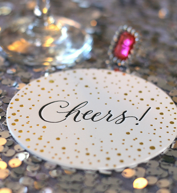 Cheers Wedding Coaster Sugar Paper LA Wedding Stationery Inspiration: Coasters