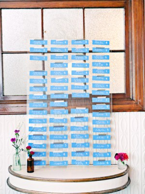 Creative Wedding Seating Card Display 300x399 Melissa + Grahams Whimsical Hand Painted Wedding Invitations