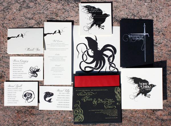 Game of Thrones Wedding Invitations PostScript Brooklyn Tony + Hsiaos Game of Thrones Wedding Invitations