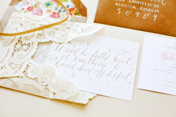 Lace Bridal Shower Invitations Kara Anne Design31 Haleys Romantic Floral + Lace Bridal Shower Invitations