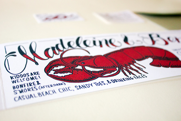 Lobster Bake Wedding Party Invitations Faye and Co Madeleine + Bens Lobster Bake Post Wedding Party Invitations