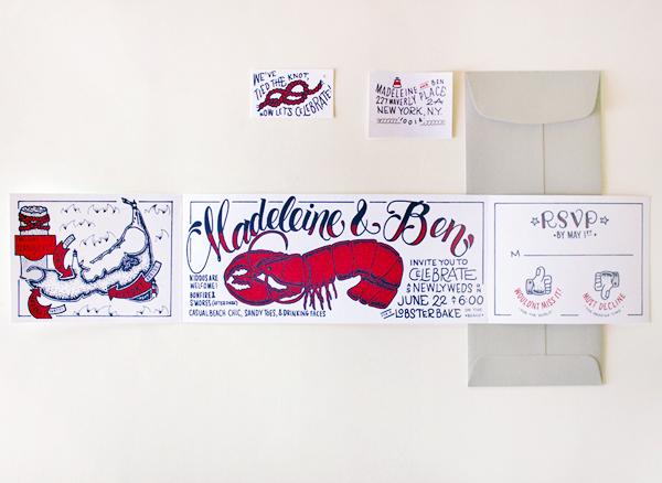 Lobster Bake Wedding Party Invitations Faye and Co2 Madeleine + Bens Lobster Bake Post Wedding Party Invitations
