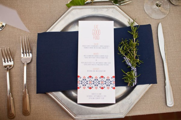 Navy Wedding Menu Posh Paperie Annie McElwain 600x398 Wedding Stationery Inspiration: Navy