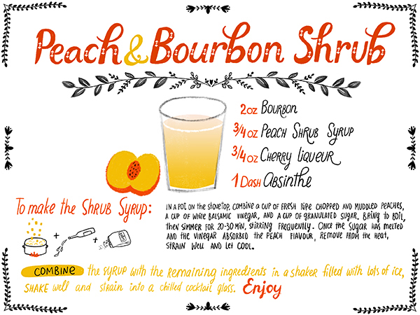 Recipe Card Peach Bourbon Shrub OSBP Dinara Mirtalipova Friday Happy Hour: Peach & Bourbon Shrub