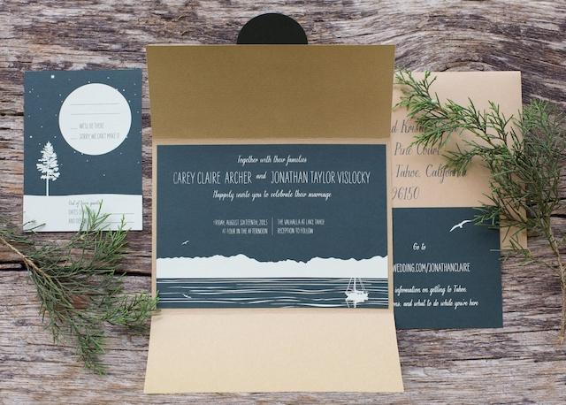 Claire John39s Woodsy Lodge Wedding Invitations