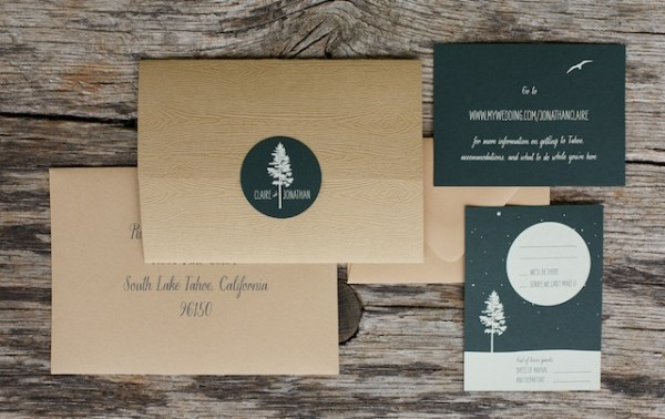 Woodsy Lodge Wedding Invitations Sarah Jane Winter5 600x378 Claire + Johns Woodsy Lodge Wedding Invitations