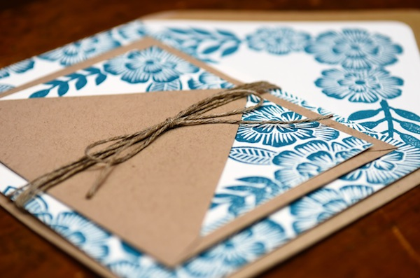 Blue Floral Block Printed Wedding Invitations Katharine Watson2 Emma + Pauls Floral Block Printed Wedding Invitations
