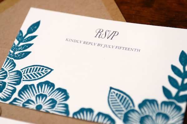 Blue Floral Block Printed Wedding Invitations Katharine Watson4 Emma + Pauls Floral Block Printed Wedding Invitations