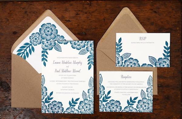 Emma + Paul\u0027s Floral Block Printed Wedding Invitations